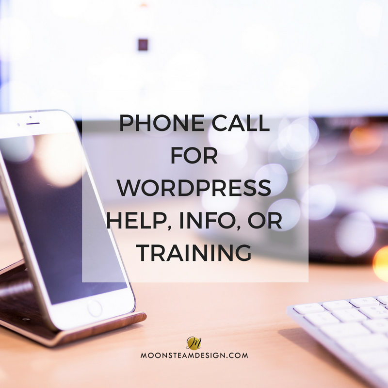 Phone Call for WordPress help, info, or training