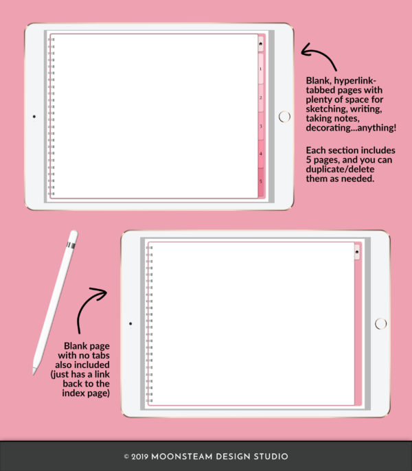 Pink Horizontal Digital Notebook by Moonsteam Design Studio