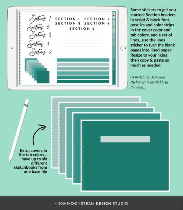Mermaid Green Horizontal Digital Notebook by Moonsteam Design Studio