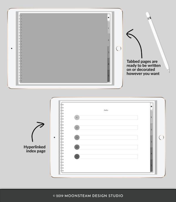 Gray Horizontal Digital Notebook by Moonsteam Design Studio
