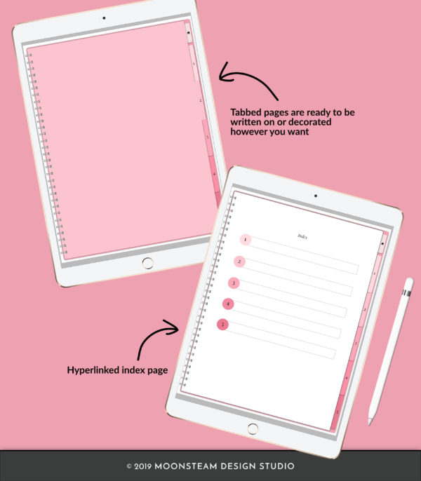 Pink Vertical Digital Notebook by Moonsteam Design Studio
