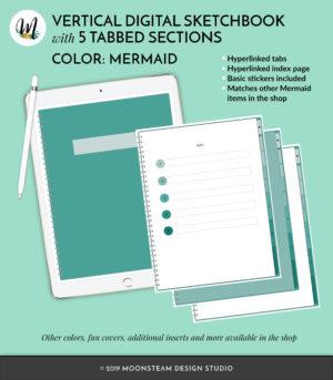 Mermaid Green Vertical Digital Notebook by Moonsteam Design Studio