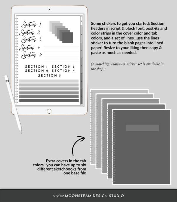 Gray Vertical Digital Notebook by Moonsteam Design Studio